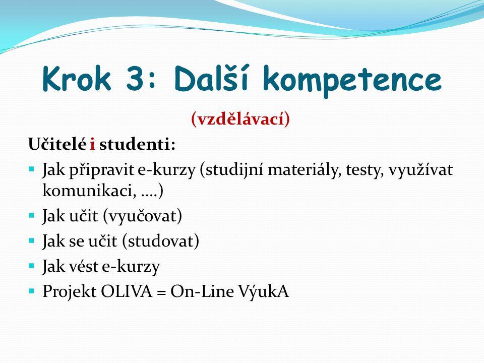 Krok 3: Další kompetence (vzdělávací) Učitelé i studenti:  Jak připravit e-kurzy (studijní materiály, testy, využívat komunikaci, ….)  Jak učit (vyu