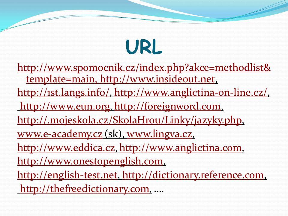 URL http://www.spomocnik.cz/index.php?akce=methodlist& template=main, http://www.insideout.nethttp://www.spomocnik.cz/index.php?akce=methodlist& templ