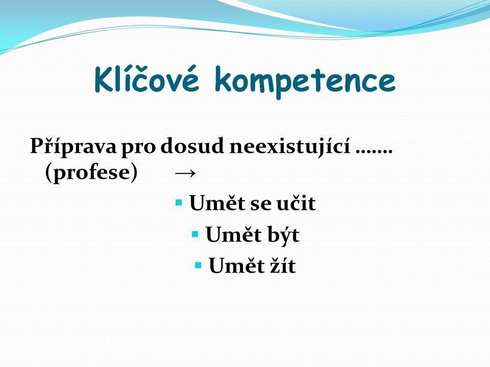Klíčové kompetence Příprava pro dosud neexistující ……. (profese) →  Umět se učit  Umět být  Umět žít