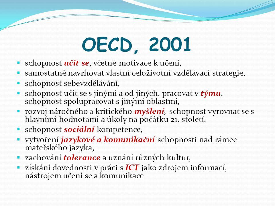OECD, 2001  schopnost učit se, včetně motivace k učení,  samostatně navrhovat vlastní celoživotní vzdělávací strategie,  schopnost sebevzdělávání,