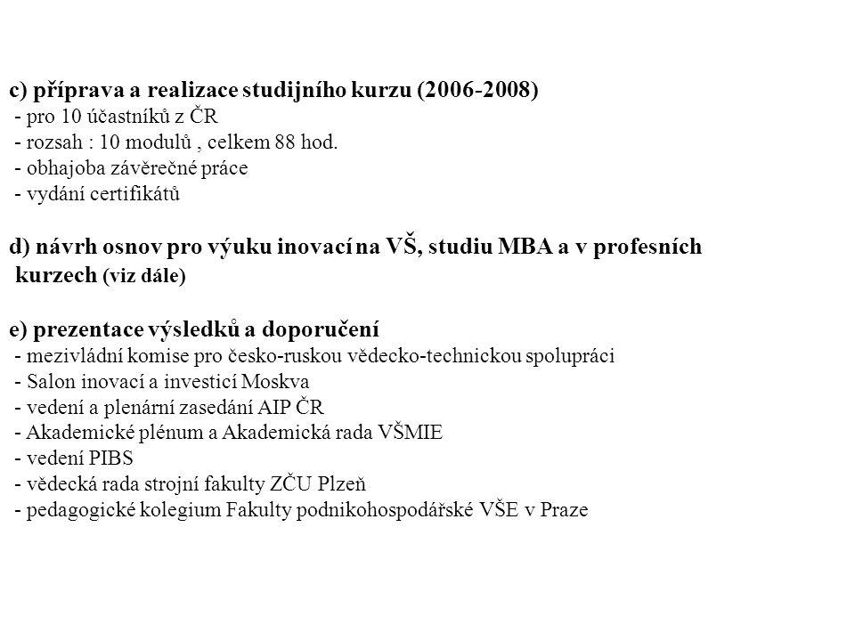 c) příprava a realizace studijního kurzu (2006-2008) - pro 10 účastníků z ČR - rozsah : 10 modulů, celkem 88 hod.