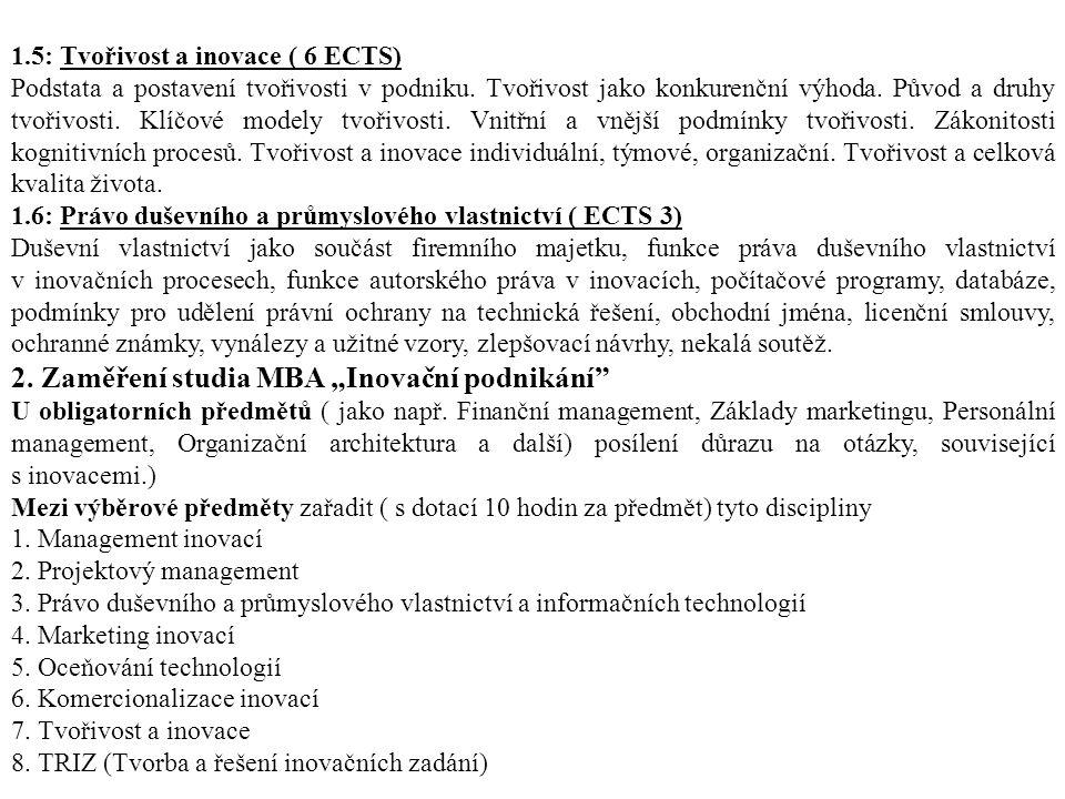 1.5: Tvořivost a inovace ( 6 ECTS) Podstata a postavení tvořivosti v podniku.