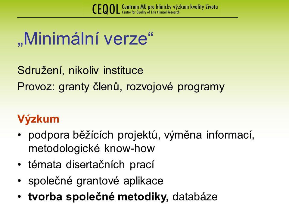 """""""Minimální verze"""" Sdružení, nikoliv instituce Provoz: granty členů, rozvojové programy Výzkum podpora běžících projektů, výměna informací, metodologic"""