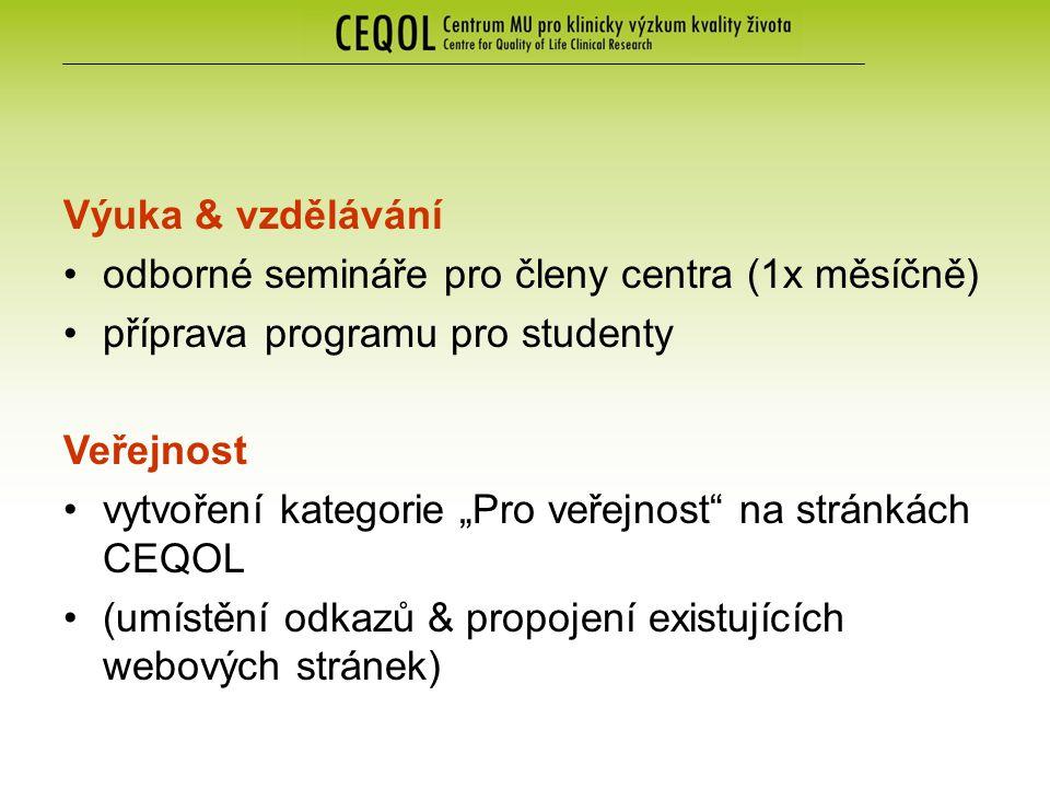 """Výuka & vzdělávání odborné semináře pro členy centra (1x měsíčně) příprava programu pro studenty Veřejnost vytvoření kategorie """"Pro veřejnost na stránkách CEQOL (umístění odkazů & propojení existujících webových stránek)"""