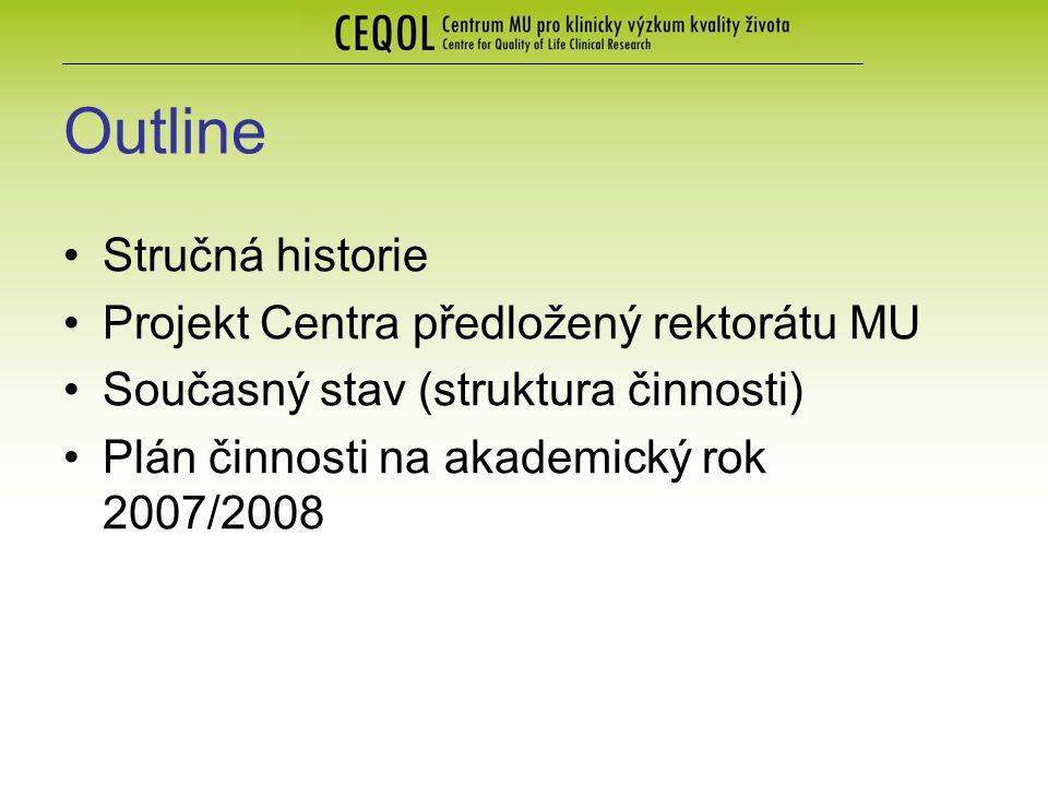 Outline Stručná historie Projekt Centra předložený rektorátu MU Současný stav (struktura činnosti) Plán činnosti na akademický rok 2007/2008