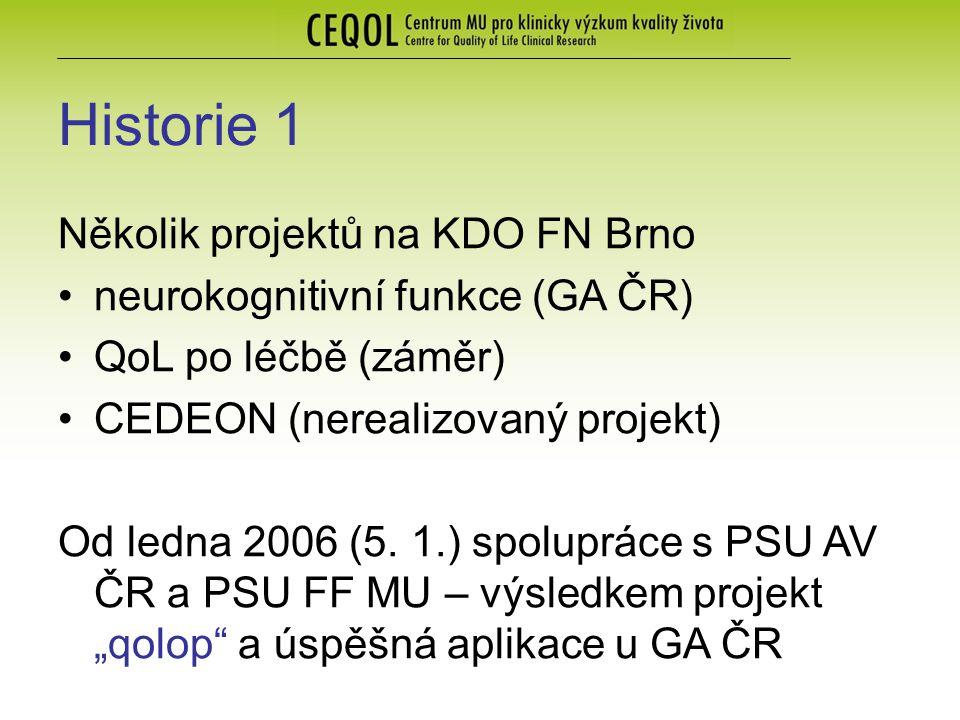 Historie 1 Několik projektů na KDO FN Brno neurokognitivní funkce (GA ČR) QoL po léčbě (záměr) CEDEON (nerealizovaný projekt) Od ledna 2006 (5.