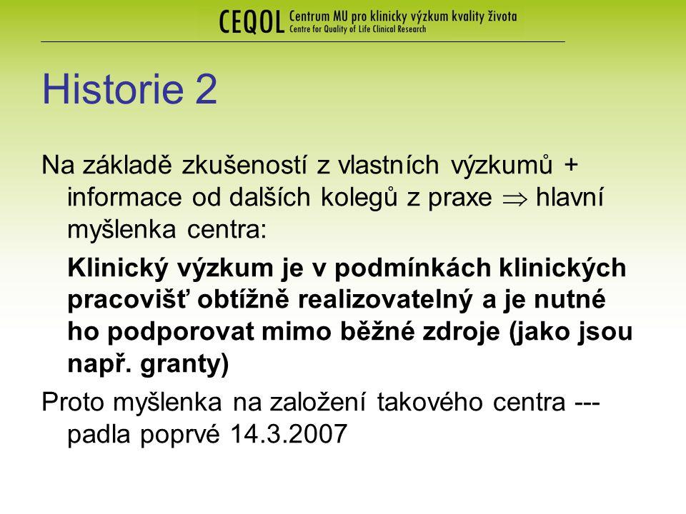Historie 2 Na základě zkušeností z vlastních výzkumů + informace od dalších kolegů z praxe  hlavní myšlenka centra: Klinický výzkum je v podmínkách k
