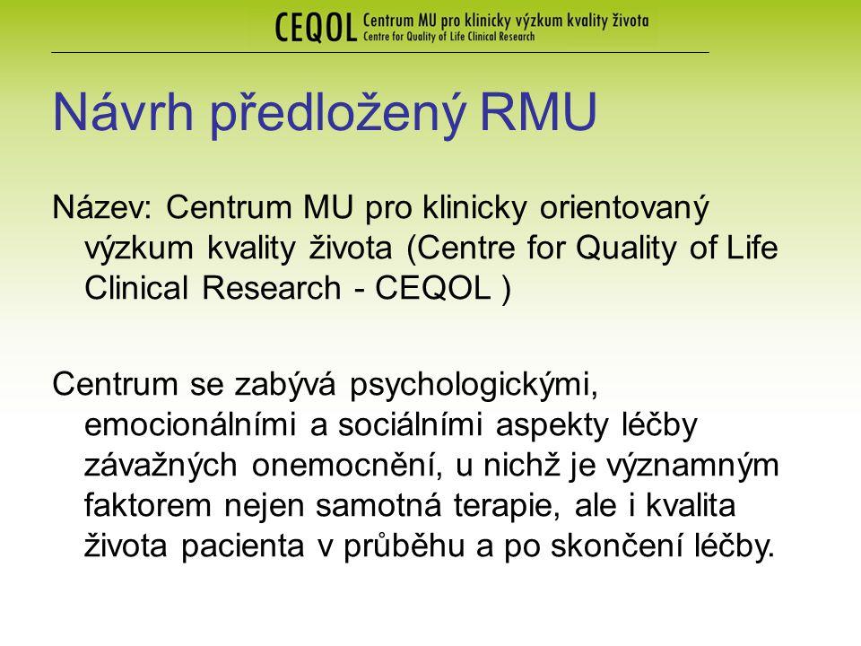 Návrh předložený RMU Název: Centrum MU pro klinicky orientovaný výzkum kvality života (Centre for Quality of Life Clinical Research - CEQOL ) Centrum