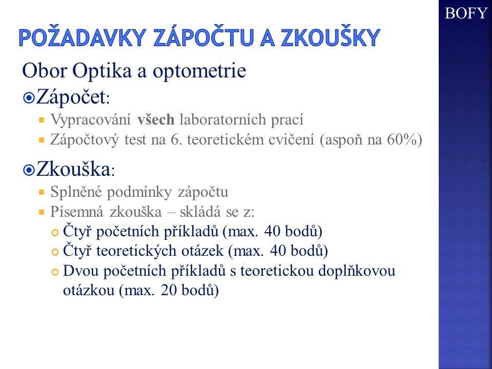 Obor Optika a optometrie  Zápočet :  Vypracování všech laboratorních prací  Zápočtový test na 6.