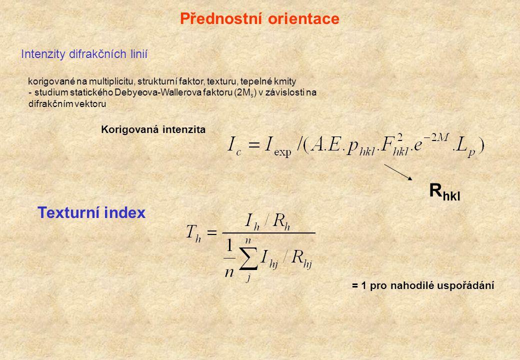 Deformační rozšíření poruchy mříže (dislokace, dislokační smyčky, precipitáty) napětí druhého druhu v polykrystalických materiálech Funkce orientačního faktoru odpovídajícího defektům Funkce mohutnosti defektu Funkce hustoty defektů Úměrné difrakčnímu vektoru sin   ~ e Williamsonův - Hallův graf W-H graf je oprávněný pouze pro cauchyovskou distribuci velikostí krystalitů i napětí.