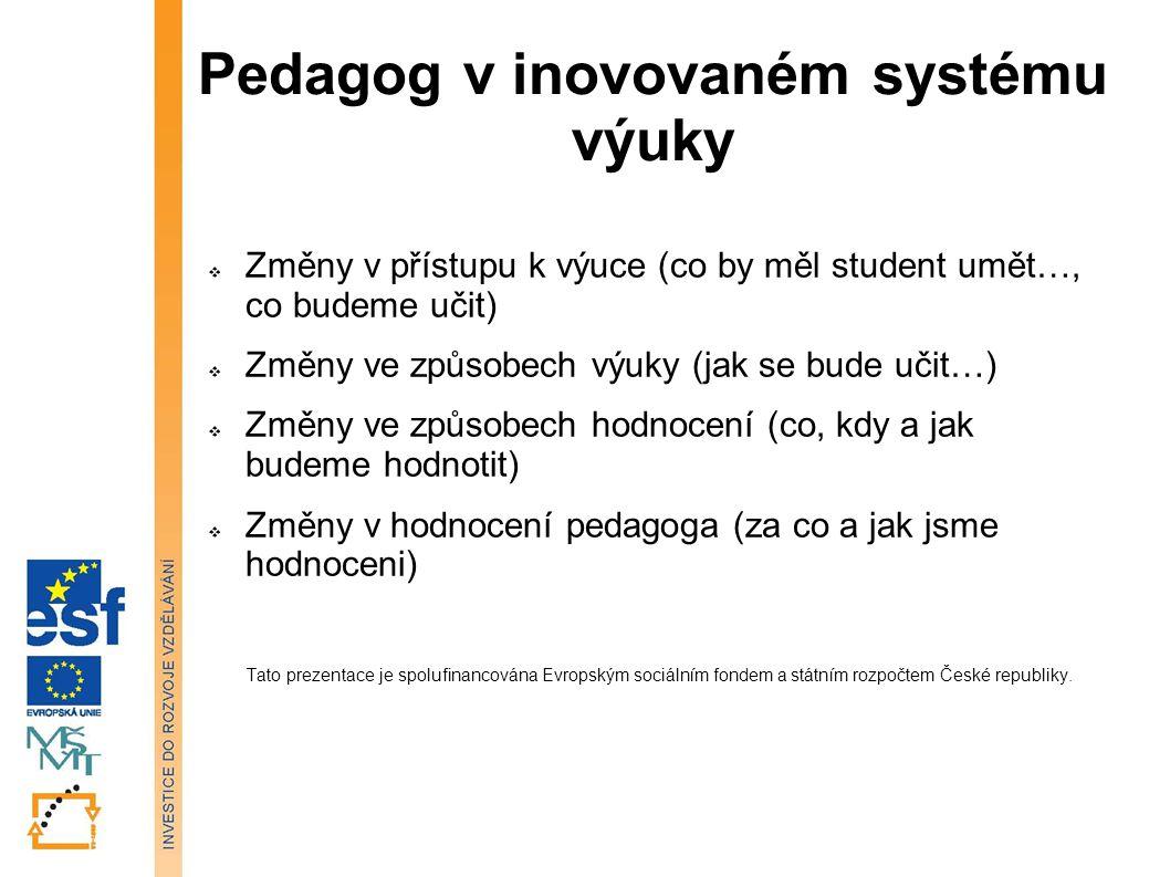 Pedagog v inovovaném systému výuky  Změny v přístupu k výuce (co by měl student umět…, co budeme učit)  Změny ve způsobech výuky (jak se bude učit…)  Změny ve způsobech hodnocení (co, kdy a jak budeme hodnotit)  Změny v hodnocení pedagoga (za co a jak jsme hodnoceni) Tato prezentace je spolufinancována Evropským sociálním fondem a státním rozpočtem České republiky.