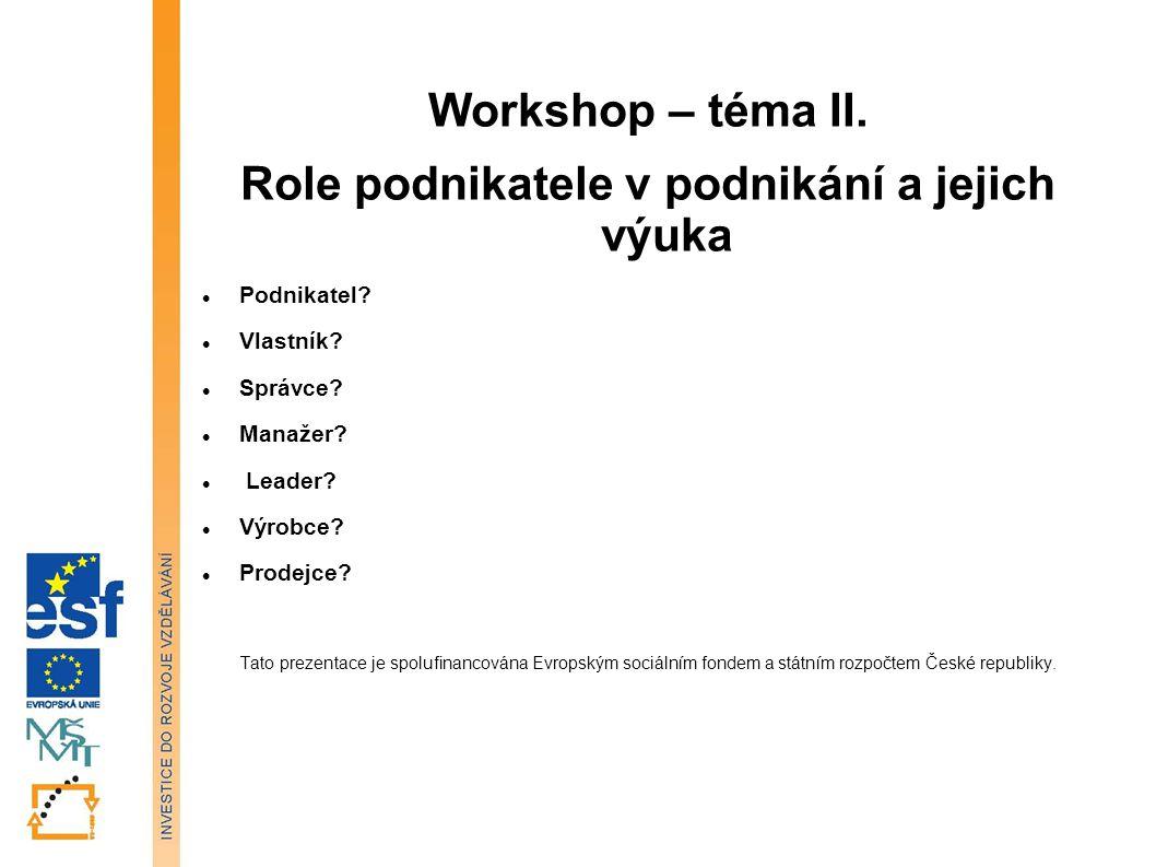 Workshop – téma II. Role podnikatele v podnikání a jejich výuka Podnikatel.