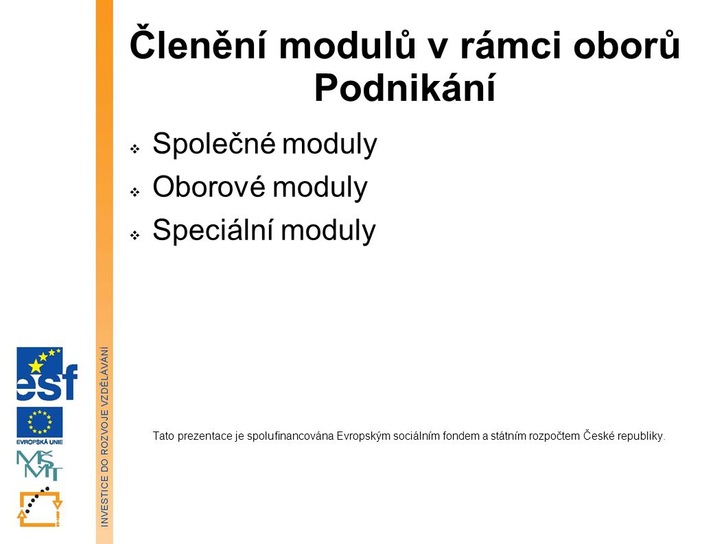 Členění modulů v rámci oborů Podnikání  Společné moduly  Oborové moduly  Speciální moduly Tato prezentace je spolufinancována Evropským sociálním fondem a státním rozpočtem České republiky.