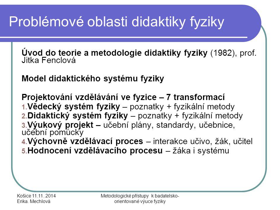 Problémové oblasti didaktiky fyziky Úvod do teorie a metodologie didaktiky fyziky (1982), prof. Jitka Fenclová Model didaktického systému fyziky Proje