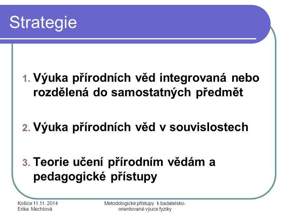 Strategie 1. Výuka přírodních věd integrovaná nebo rozdělená do samostatných předmět 2. Výuka přírodních věd v souvislostech 3. Teorie učení přírodním