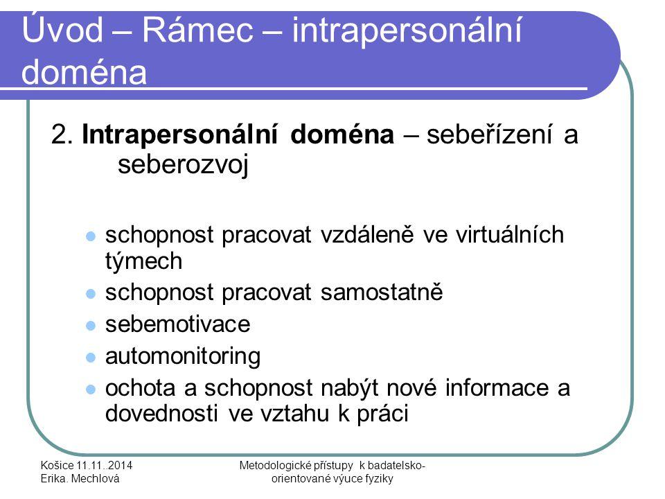 Úvod – Rámec – intrapersonální doména 2. Intrapersonální doména – sebeřízení a seberozvoj schopnost pracovat vzdáleně ve virtuálních týmech schopnost
