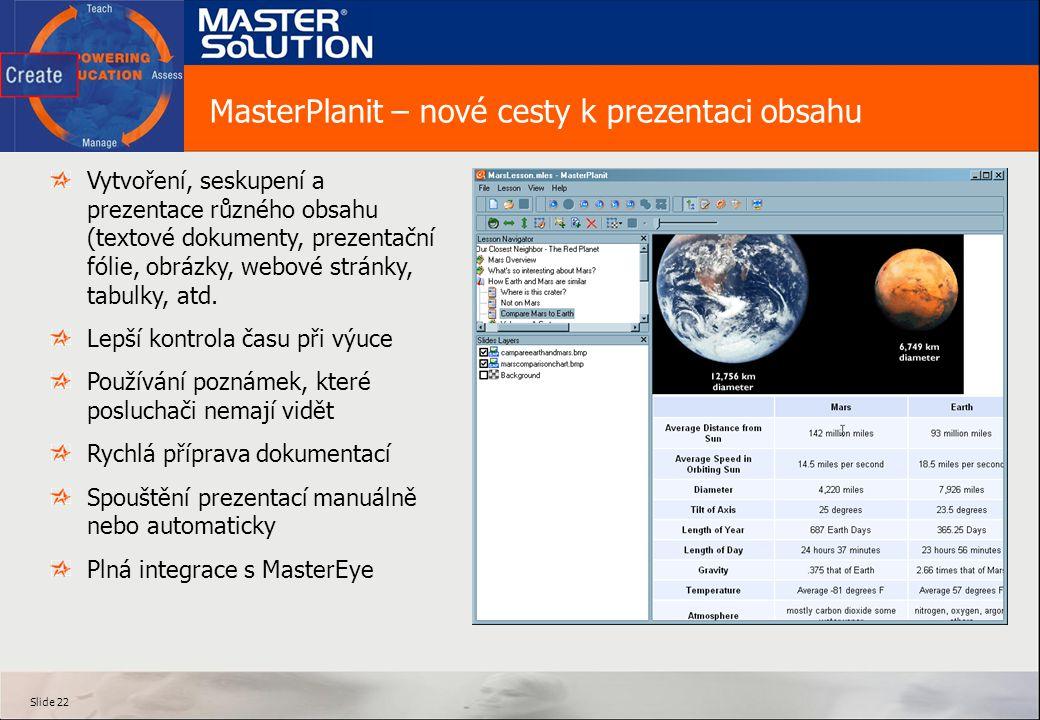 Slide 22 MasterPlanit – nové cesty k prezentaci obsahu Vytvoření, seskupení a prezentace různého obsahu (textové dokumenty, prezentační fólie, obrázky, webové stránky, tabulky, atd.