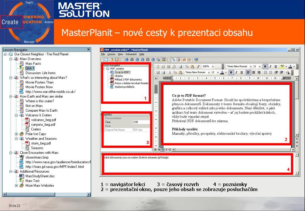 Slide 23 MasterPlanit – nové cesty k prezentaci obsahu 1 = navigátor lekcí3 = časový rozvrh4 = poznámky 2 = prezentační okno, pouze jeho obsah se zobrazuje posluchačům