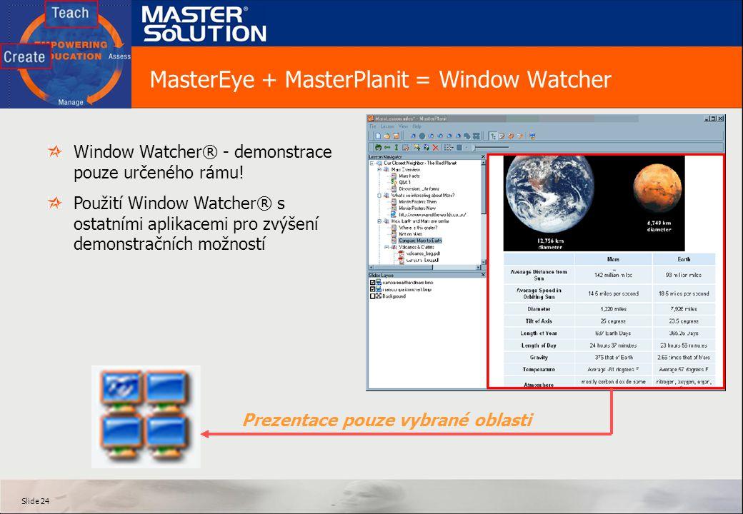 Slide 24 MasterEye + MasterPlanit = Window Watcher Window Watcher® - demonstrace pouze určeného rámu.