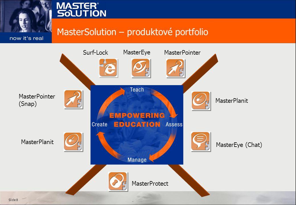 Slide 8 MasterSolution – produktové portfolio MasterEye (Chat) MasterEye MasterPlanit MasterPointer MasterProtect MasterPointer (Snap) MasterPlanit Surf-Lock