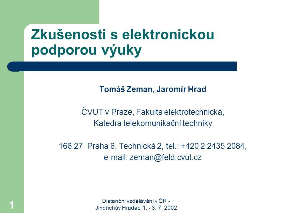 Distanční vzdělávání v ČR - Jindřichův Hradec, 1.- 3.