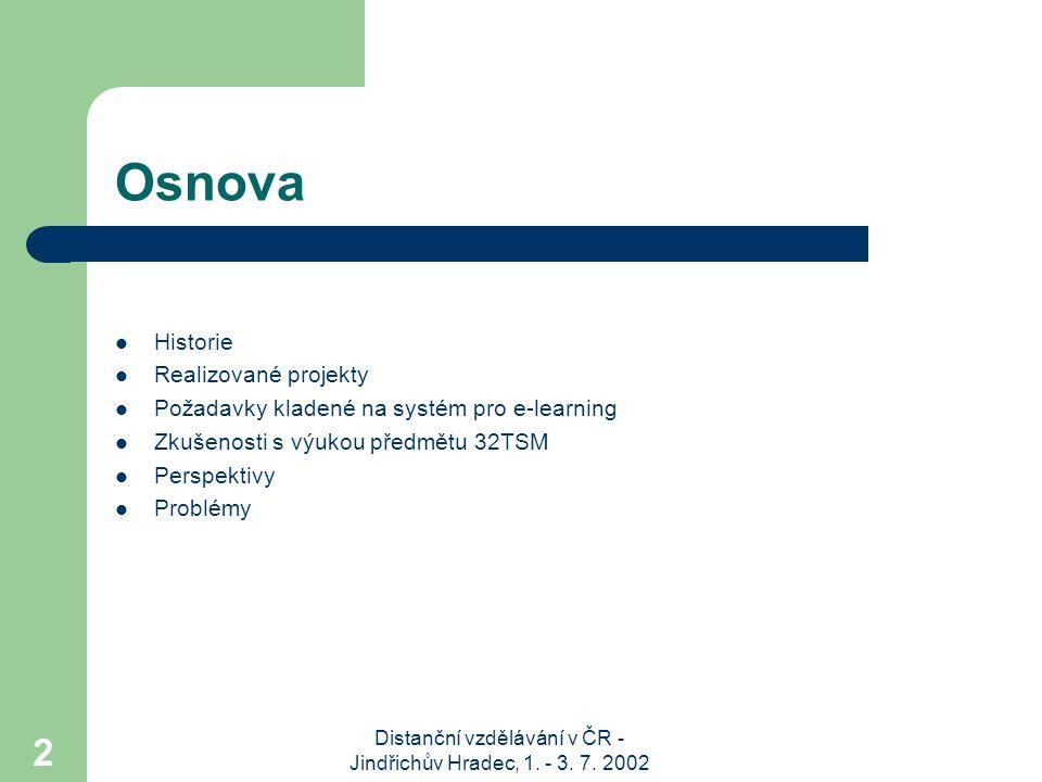 Distanční vzdělávání v ČR - Jindřichův Hradec, 1. - 3. 7. 2002 2 Osnova Historie Realizované projekty Požadavky kladené na systém pro e-learning Zkuše