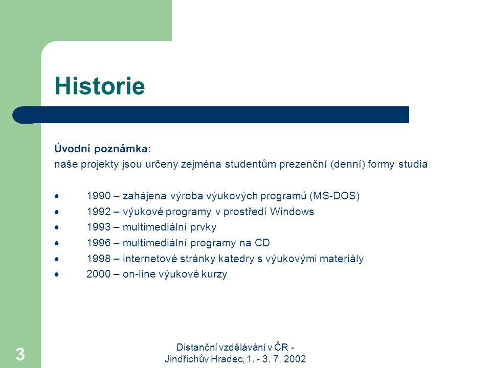 Distanční vzdělávání v ČR - Jindřichův Hradec, 1. - 3. 7. 2002 3 Historie Úvodní poznámka: naše projekty jsou určeny zejména studentům prezenční (denn