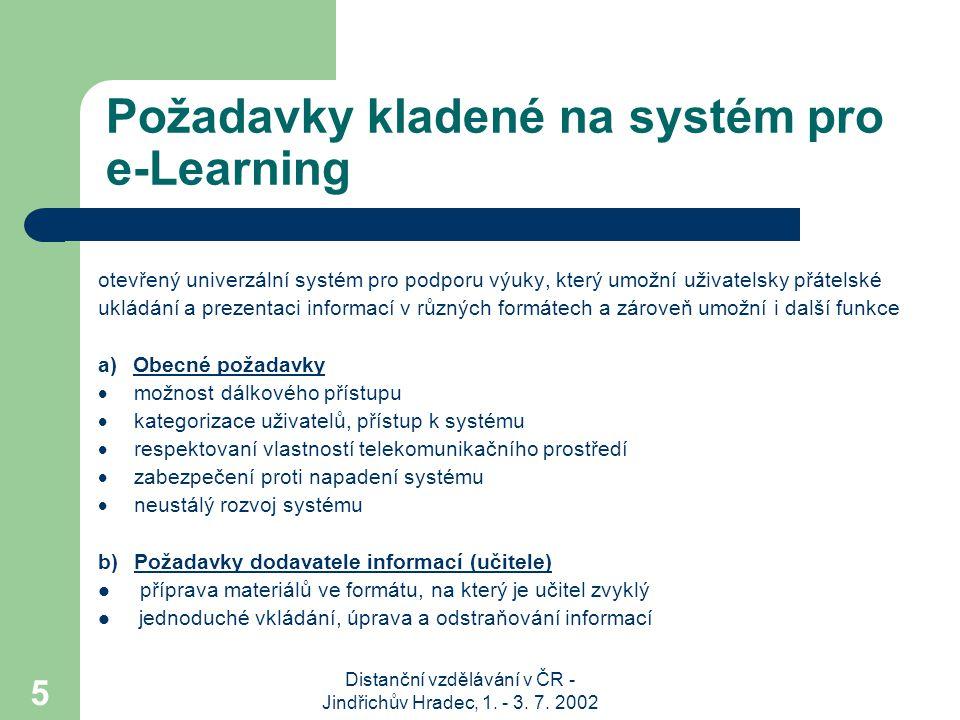 Distanční vzdělávání v ČR - Jindřichův Hradec, 1. - 3. 7. 2002 5 Požadavky kladené na systém pro e-Learning otevřený univerzální systém pro podporu vý