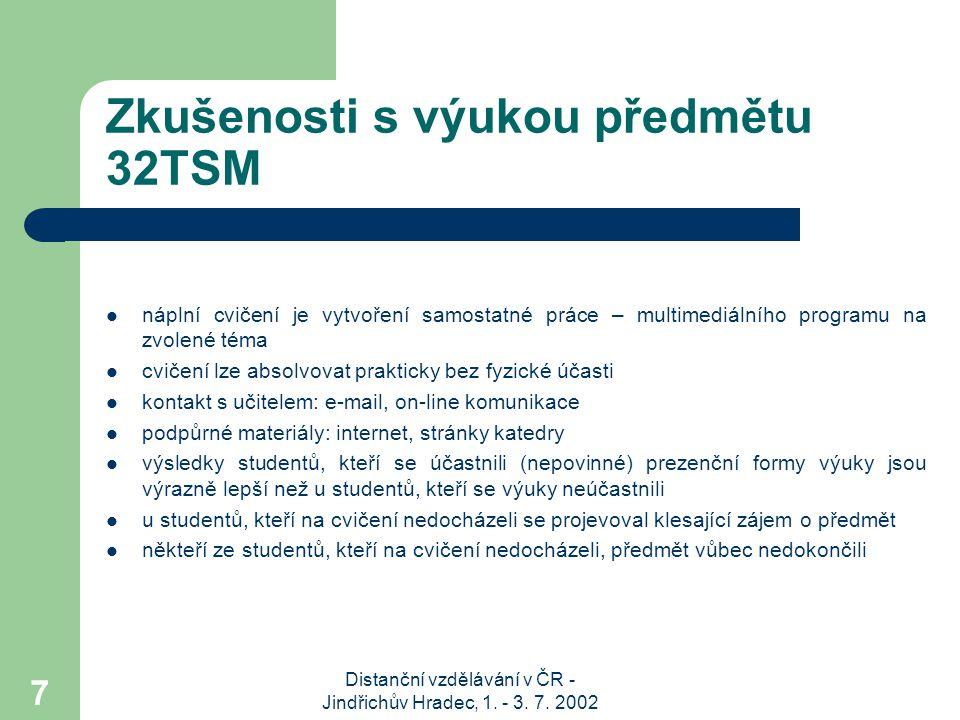 Distanční vzdělávání v ČR - Jindřichův Hradec, 1. - 3. 7. 2002 7 Zkušenosti s výukou předmětu 32TSM náplní cvičení je vytvoření samostatné práce – mul