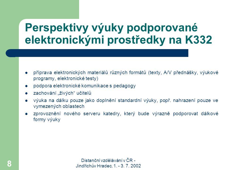 Distanční vzdělávání v ČR - Jindřichův Hradec, 1. - 3. 7. 2002 8 Perspektivy výuky podporované elektronickými prostředky na K332 příprava elektronický