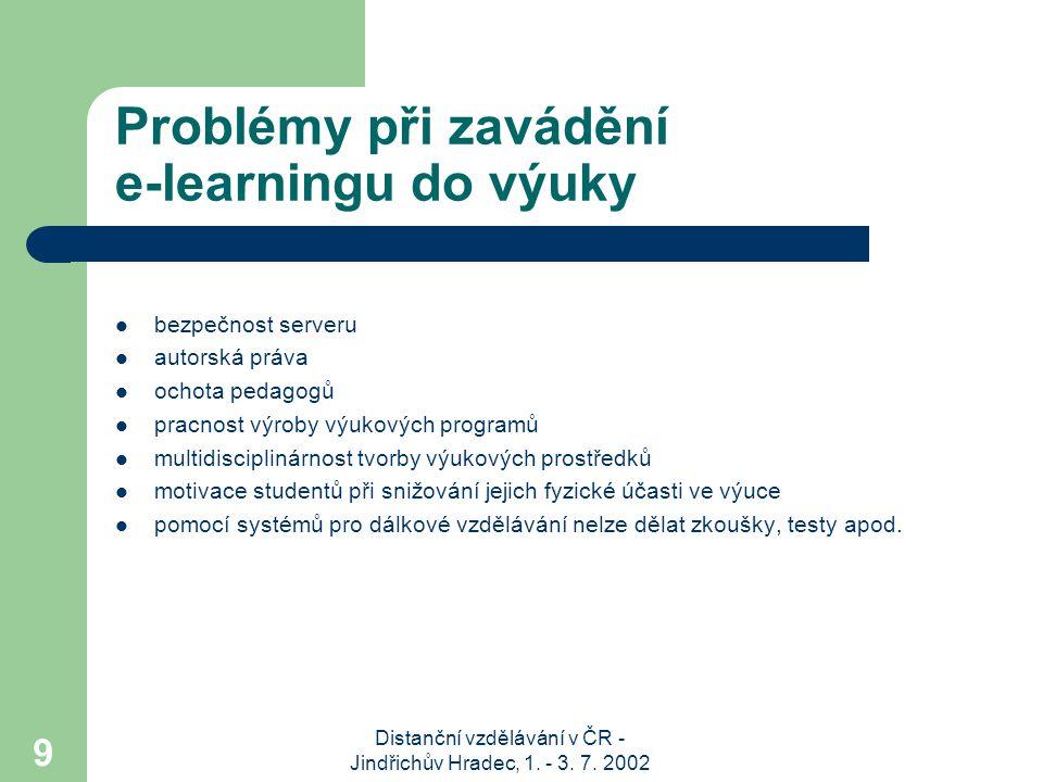 Distanční vzdělávání v ČR - Jindřichův Hradec, 1. - 3. 7. 2002 9 Problémy při zavádění e-learningu do výuky bezpečnost serveru autorská práva ochota p