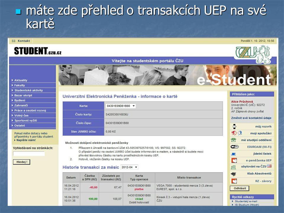 máte zde přehled o transakcích UEP na své kartě máte zde přehled o transakcích UEP na své kartě