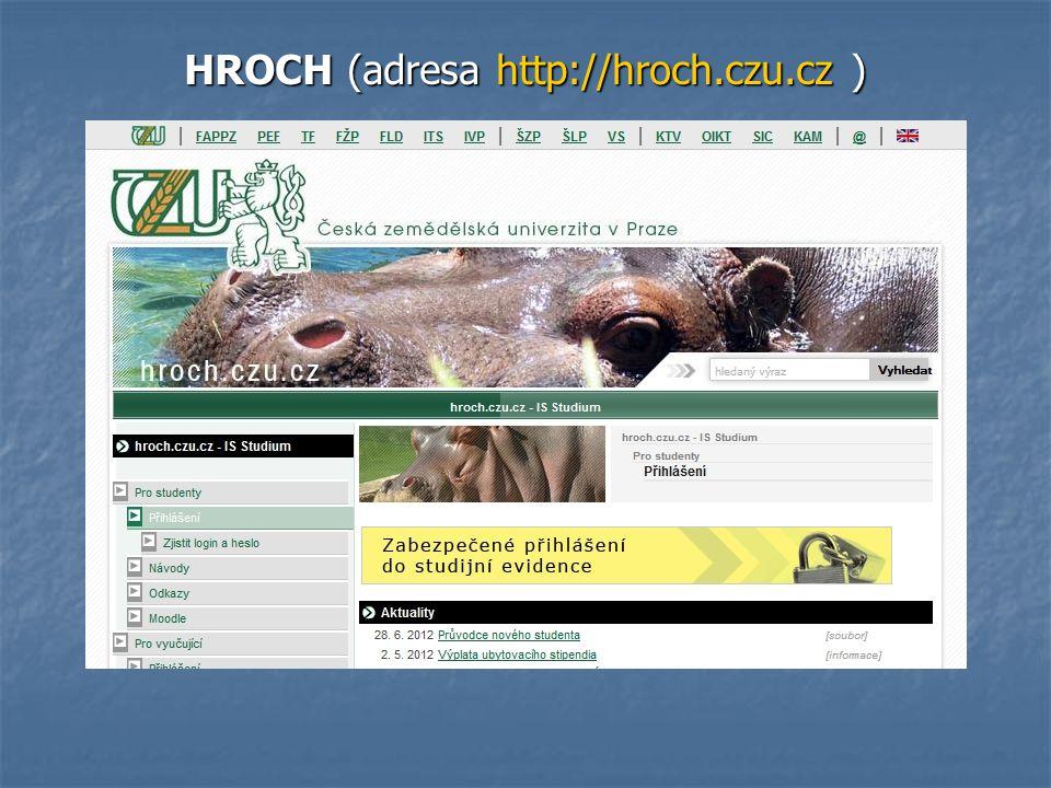 Změna hesla na http://hroch.czu.cz je nutná.
