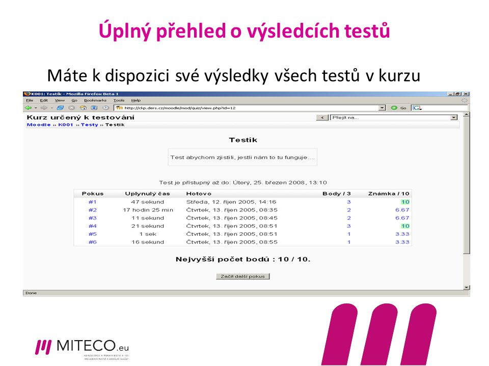 Úplný přehled o výsledcích testů Máte k dispozici své výsledky všech testů v kurzu