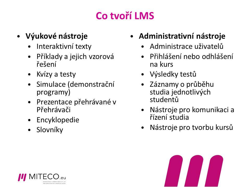 Co tvoří LMS Výukové nástroje Interaktivní texty Příklady a jejich vzorová řešení Kvízy a testy Simulace (demonstrační programy) Prezentace přehrávané