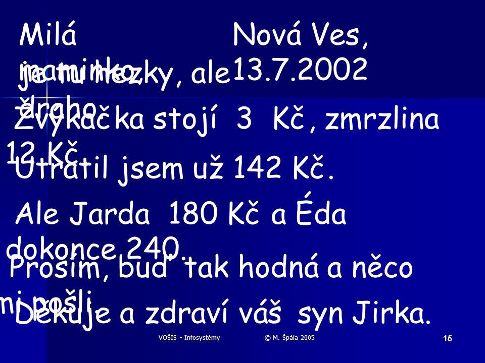VOŠIS - Infosystémy © M. Špála 2005 15 Milá maminko, je tu hezky, ale draho.