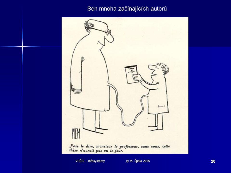 VOŠIS - Infosystémy © M. Špála 2005 20 Sen mnoha začínajících autorů