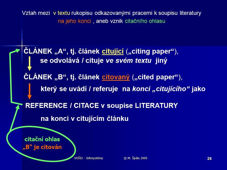 "VOŠIS - Infosystémy © M. Špála 2005 24 ČLÁNEK ""A , tj."
