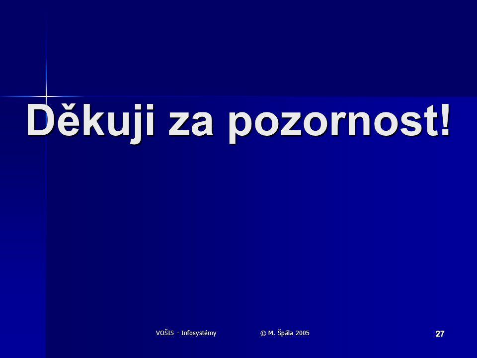 VOŠIS - Infosystémy © M. Špála 2005 27 Děkuji za pozornost!