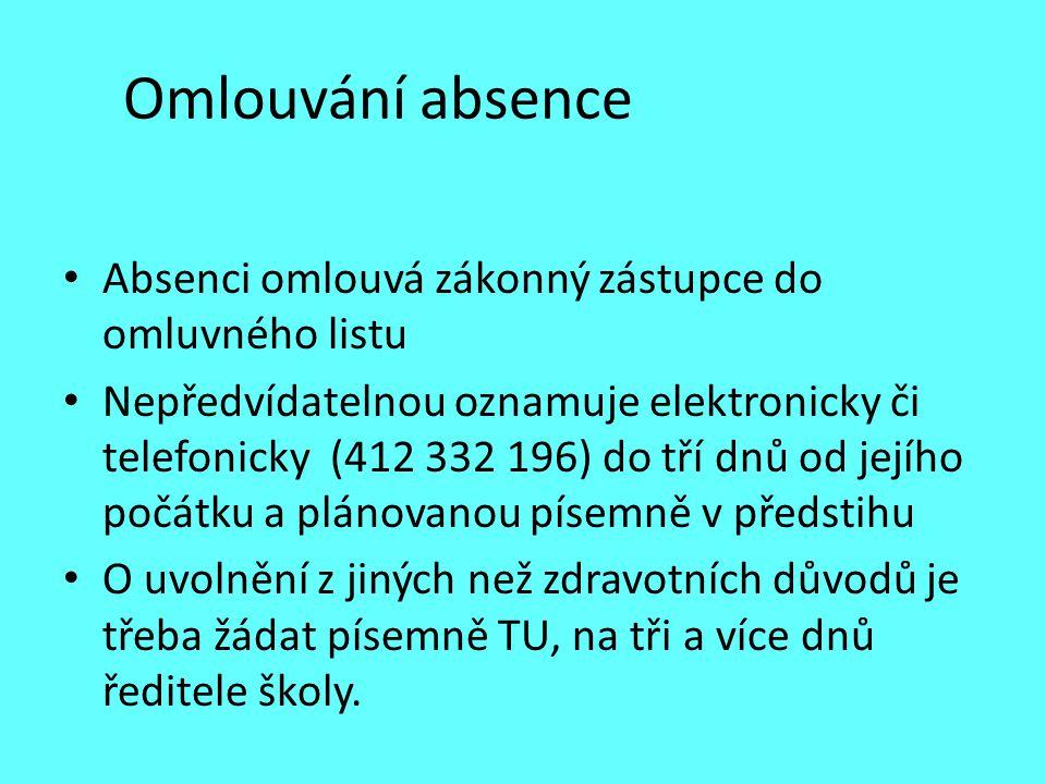 Omlouvání absence Absenci omlouvá zákonný zástupce do omluvného listu Nepředvídatelnou oznamuje elektronicky či telefonicky (412 332 196) do tří dnů o