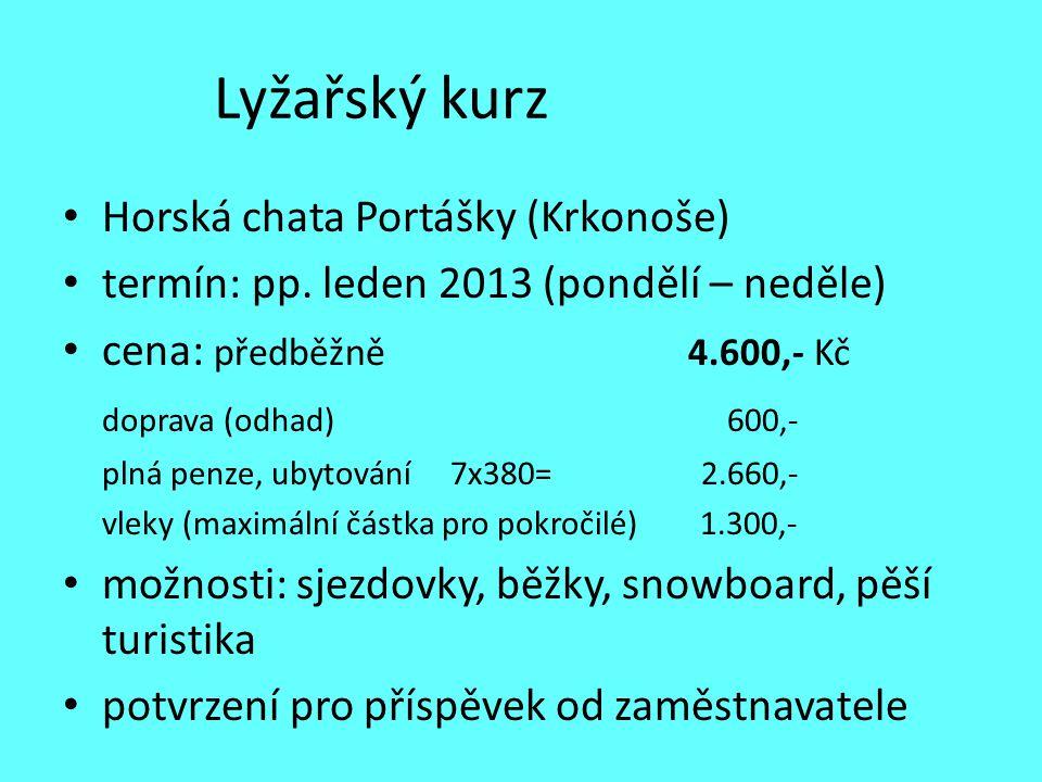 Lyžařský kurz Horská chata Portášky (Krkonoše) termín: pp. leden 2013 (pondělí – neděle) cena: předběžně 4.600,- Kč doprava (odhad) 600,- plná penze,