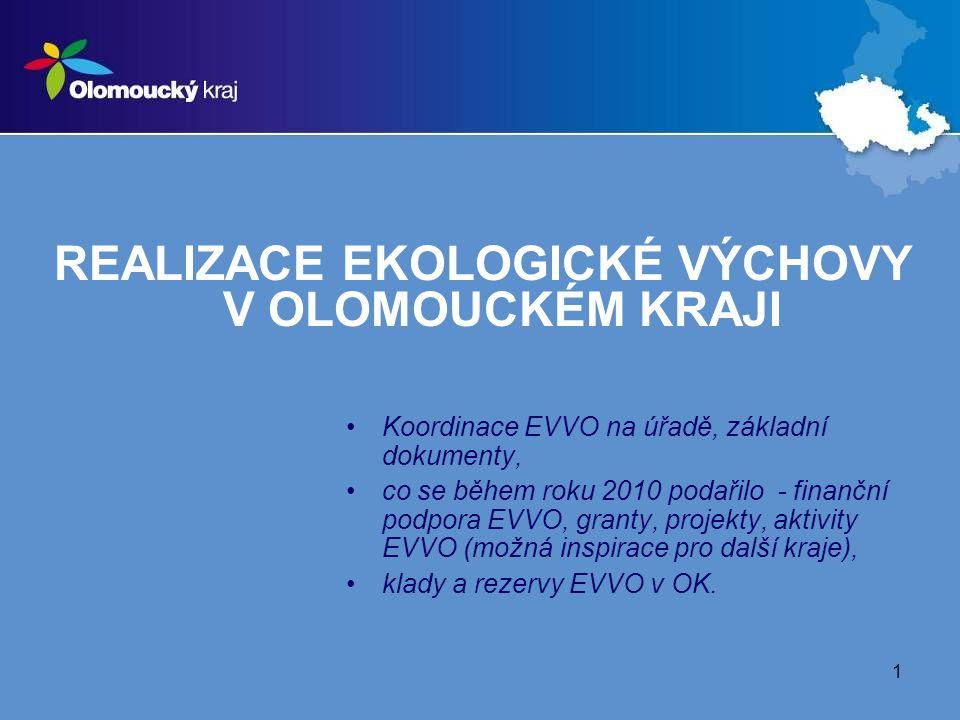1 REALIZACE EKOLOGICKÉ VÝCHOVY V OLOMOUCKÉM KRAJI Koordinace EVVO na úřadě, základní dokumenty, co se během roku 2010 podařilo - finanční podpora EVVO