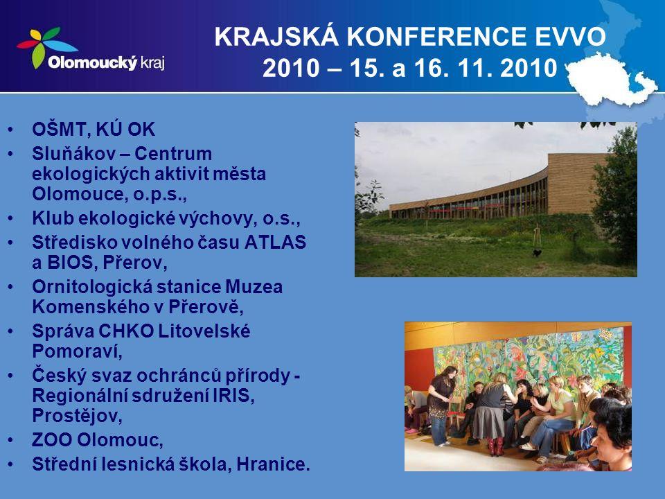 12 KRAJSKÁ KONFERENCE EVVO 2010 – 15. a 16. 11. 2010 OŠMT, KÚ OK Sluňákov – Centrum ekologických aktivit města Olomouce, o.p.s., Klub ekologické výcho