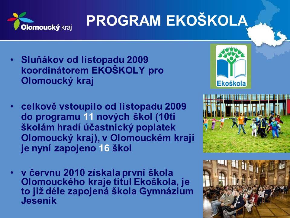 17 PROGRAM EKOŠKOLA Sluňákov od listopadu 2009 koordinátorem EKOŠKOLY pro Olomoucký kraj celkově vstoupilo od listopadu 2009 do programu 11 nových škol (10ti školám hradí účastnický poplatek Olomoucký kraj), v Olomouckém kraji je nyní zapojeno 16 škol v červnu 2010 získala první škola Olomouckého kraje titul Ekoškola, je to již déle zapojená škola Gymnázium Jeseník