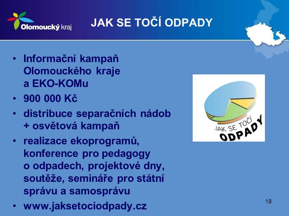 18 JAK SE TOČÍ ODPADY Informační kampaň Olomouckého kraje a EKO-KOMu 900 000 Kč distribuce separačních nádob + osvětová kampaň realizace ekoprogramů, konference pro pedagogy o odpadech, projektové dny, soutěže, semináře pro státní správu a samosprávu www.jaksetociodpady.cz