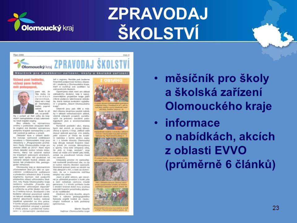23 ZPRAVODAJ ŠKOLSTVÍ měsíčník pro školy a školská zařízení Olomouckého kraje informace o nabídkách, akcích z oblasti EVVO (průměrně 6 článků)