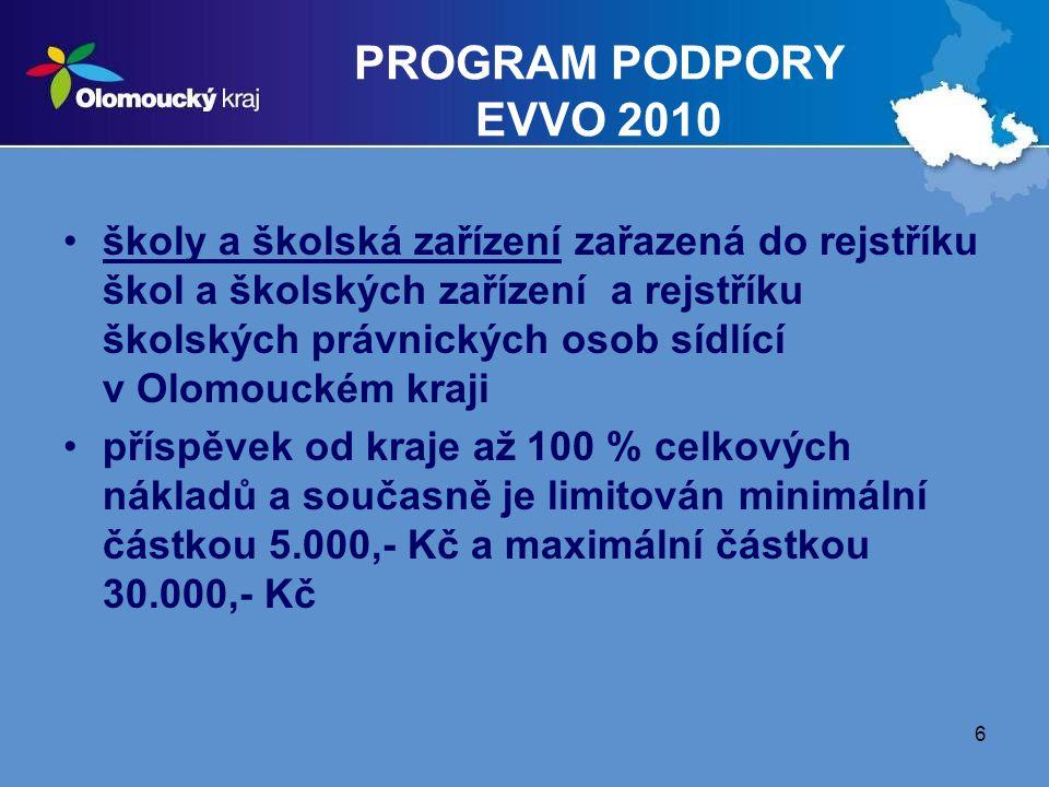 6 PROGRAM PODPORY EVVO 2010 školy a školská zařízení zařazená do rejstříku škol a školských zařízení a rejstříku školských právnických osob sídlící v Olomouckém kraji příspěvek od kraje až 100 % celkových nákladů a současně je limitován minimální částkou 5.000,- Kč a maximální částkou 30.000,- Kč