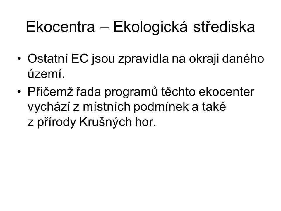 Ekocentra – Ekologická střediska Ostatní EC jsou zpravidla na okraji daného území. Přičemž řada programů těchto ekocenter vychází z místních podmínek
