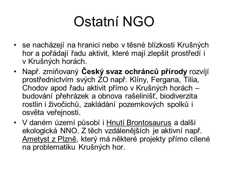 Ostatní NGO se nacházejí na hranici nebo v těsné blízkosti Krušných hor a pořádají řadu aktivit, které mají zlepšit prostředí i v Krušných horách. Nap