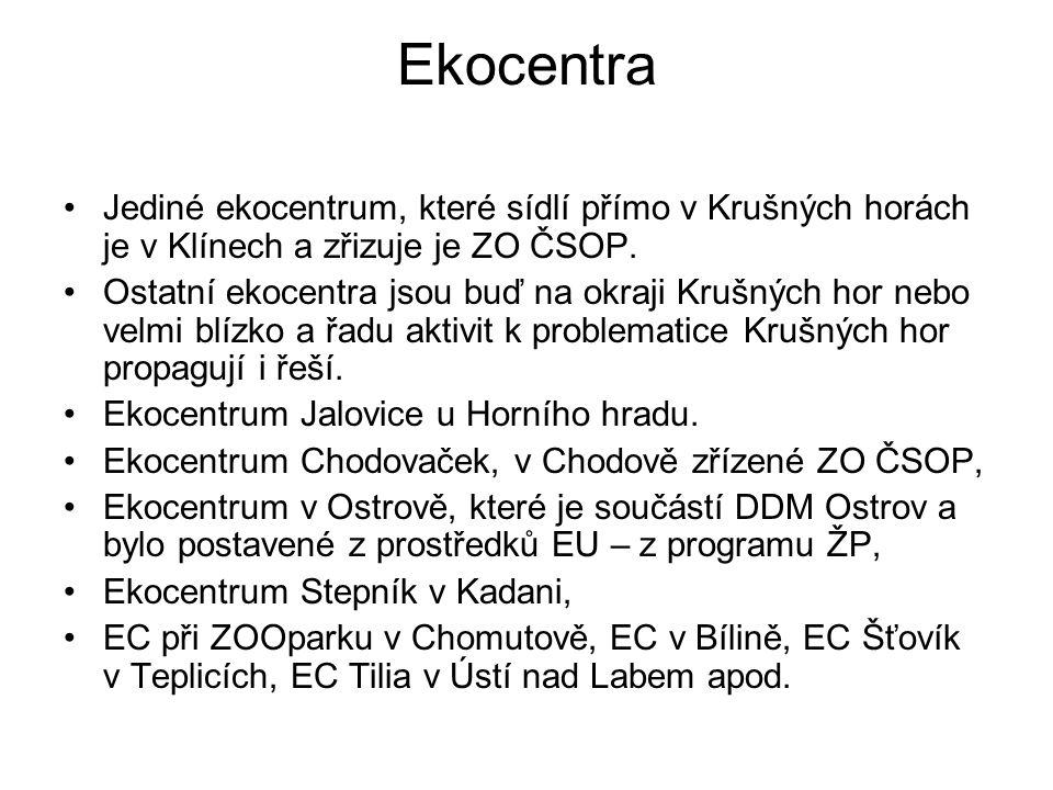 Ekocentra Jediné ekocentrum, které sídlí přímo v Krušných horách je v Klínech a zřizuje je ZO ČSOP. Ostatní ekocentra jsou buď na okraji Krušných hor